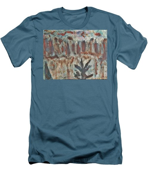 Men's T-Shirt (Slim Fit) featuring the painting Tree Facing Frozen Lake With Roiling Storm Clouds Rolling In From The Mountain Range Winter With Fal by MendyZ