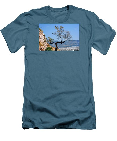 Tree On Acropolis Hill Men's T-Shirt (Slim Fit) by Robert Moss