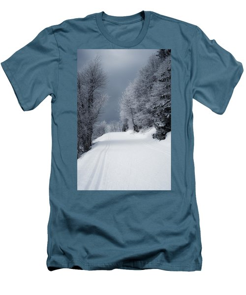 Trees Hills And Snow Men's T-Shirt (Slim Fit) by Miguel Winterpacht
