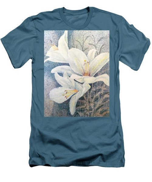 Men's T-Shirt (Slim Fit) featuring the painting Triplefold White by Carolyn Rosenberger
