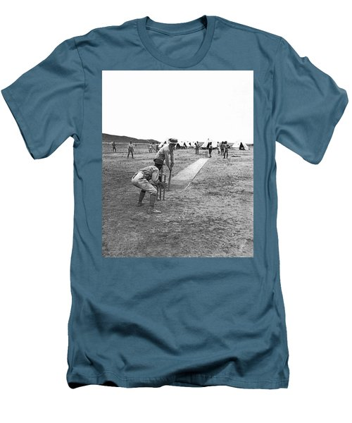 Troops Playing Cricket Men's T-Shirt (Slim Fit) by Underwood Archives