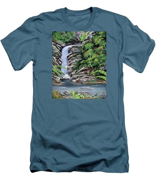 Tropical Waterfall 2 Men's T-Shirt (Slim Fit) by Luis F Rodriguez
