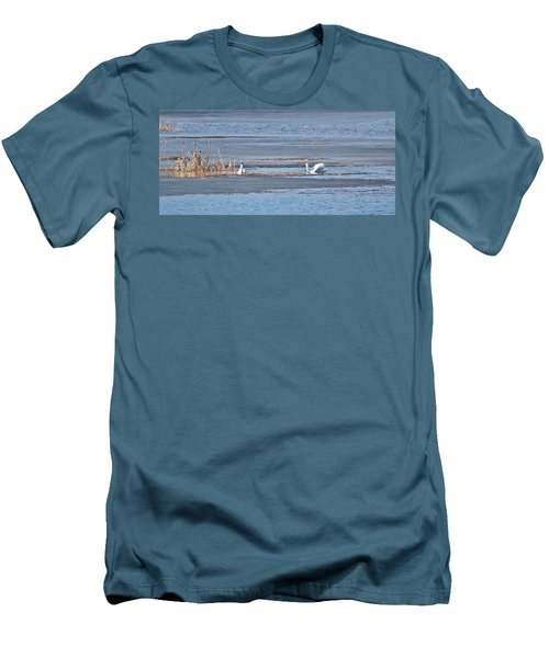 Men's T-Shirt (Slim Fit) featuring the photograph Trumpeter Swans 0933 by Michael Peychich