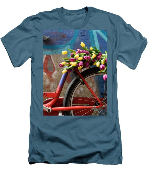 Men's T-Shirt (Slim Fit) featuring the photograph Tulip Bike by Phyllis Peterson