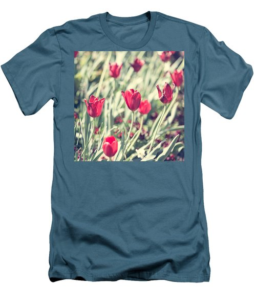 Men's T-Shirt (Slim Fit) featuring the photograph Tulips In Red by Wade Brooks
