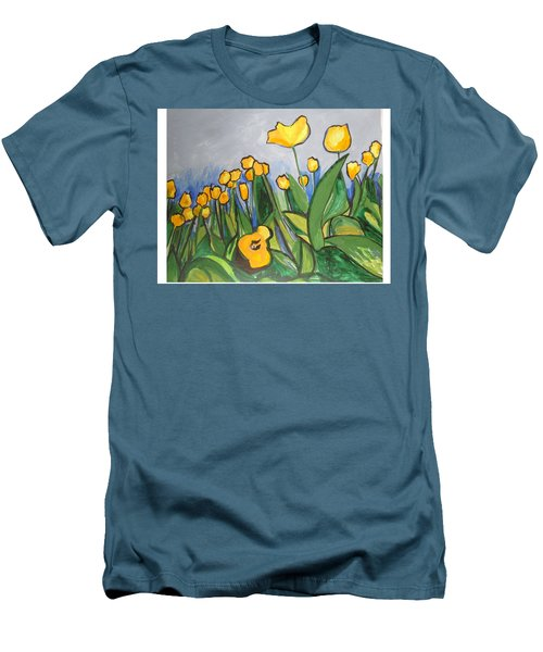 Men's T-Shirt (Athletic Fit) featuring the painting Tulips In Springtime by Esther Newman-Cohen
