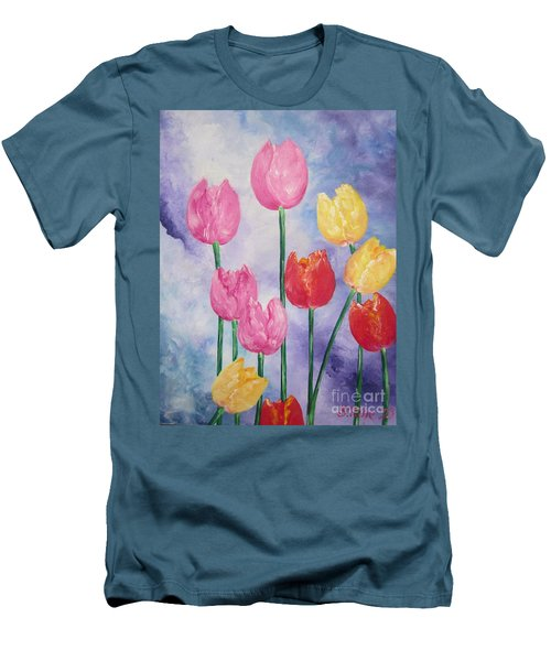 Men's T-Shirt (Slim Fit) featuring the painting Tulips - Red-yellow-pink by Sigrid Tune