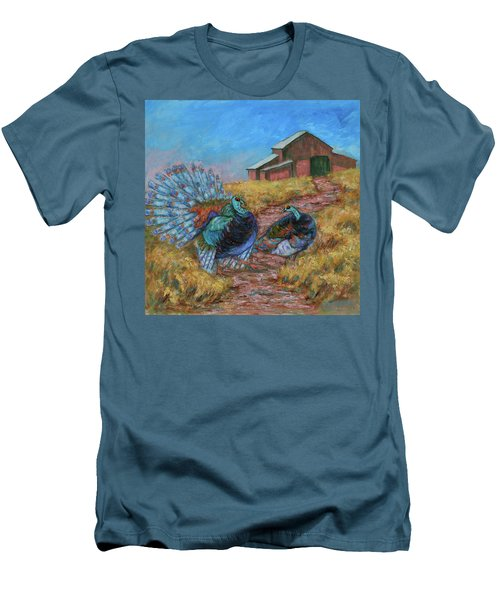 Men's T-Shirt (Athletic Fit) featuring the painting Turkey Tom's Tango by Xueling Zou
