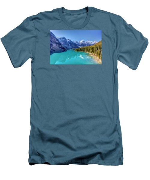 Turquoise Splendor Moraine Lake Men's T-Shirt (Slim Fit) by Pierre Leclerc Photography
