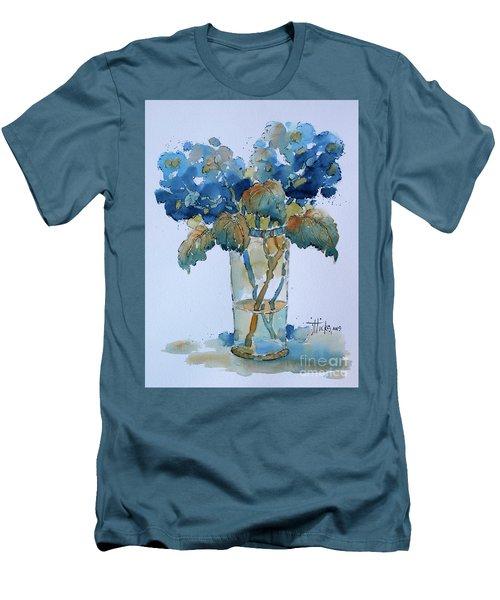Two Blue Hydrangea Men's T-Shirt (Athletic Fit)