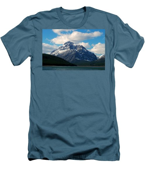 Two Medicine Lake And Rising Wolf Mountain Men's T-Shirt (Slim Fit)