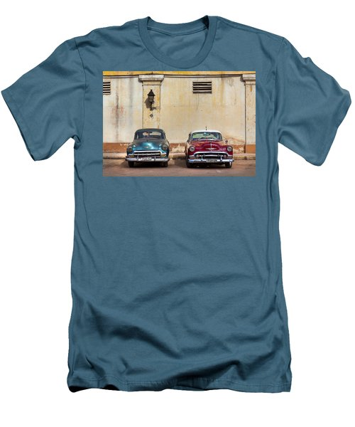 Men's T-Shirt (Slim Fit) featuring the photograph Two Old Vintage Chevys Havana Cuba by Charles Harden