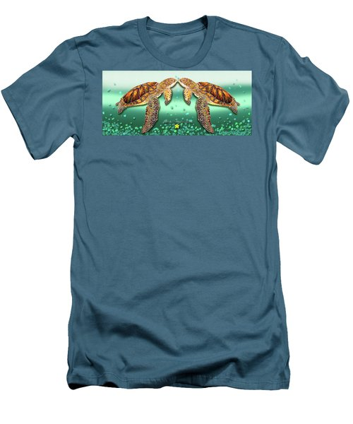 Two Turtles Men's T-Shirt (Slim Fit) by Debbie Chamberlin