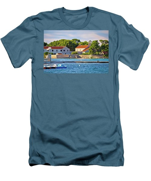 Ugljan Island Village Old Church And Beach View Men's T-Shirt (Slim Fit) by Brch Photography