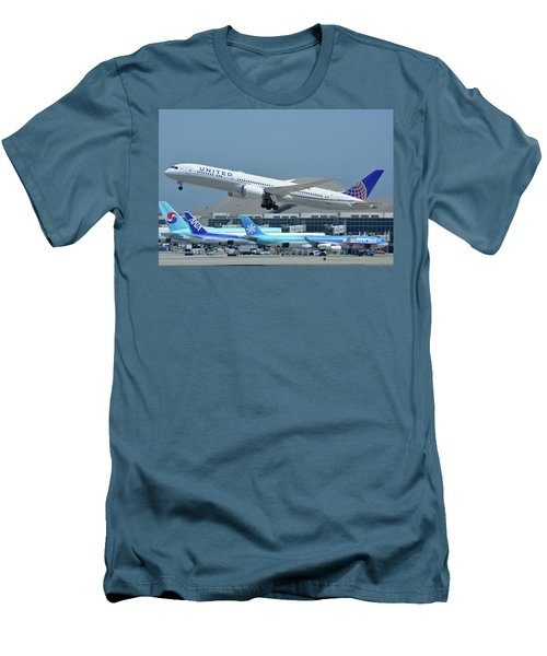 United Boeing 787-9 N27965 Los Angeles International Airport May 3 2016 Men's T-Shirt (Slim Fit) by Brian Lockett