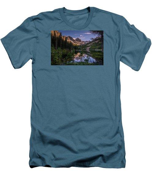 Upper Slate Lake Evening Glow Men's T-Shirt (Slim Fit) by Michael J Bauer