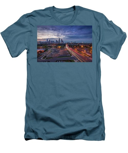 Uptown Charlotte Rush Hour Men's T-Shirt (Slim Fit) by Serge Skiba