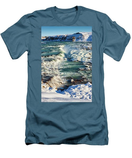 Urridafoss Waterfall Iceland Men's T-Shirt (Slim Fit) by Matthias Hauser
