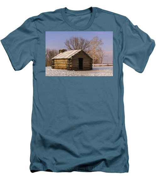 Valley Forge Cabin At Sunset Men's T-Shirt (Slim Fit) by Rima Biswas