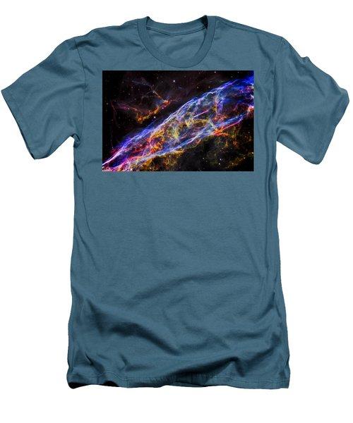 Veil Nebula - Rainbow Supernova  Men's T-Shirt (Slim Fit) by Jennifer Rondinelli Reilly - Fine Art Photography