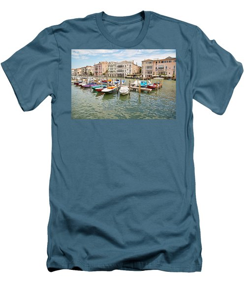 Men's T-Shirt (Slim Fit) featuring the photograph Venice Boats by Sharon Jones