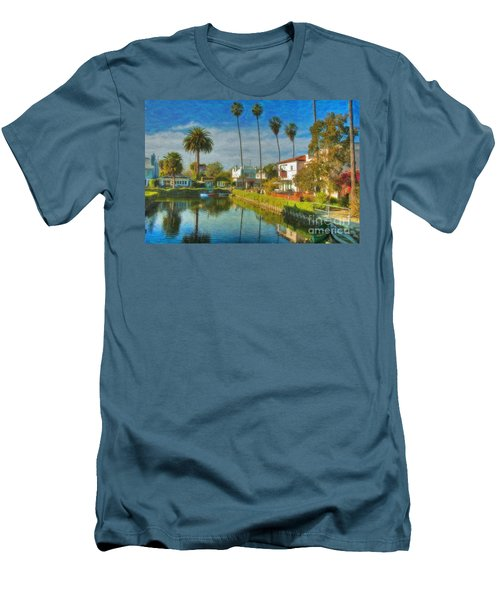 Men's T-Shirt (Slim Fit) featuring the photograph Venice Canal Houses Watercolor  by David Zanzinger