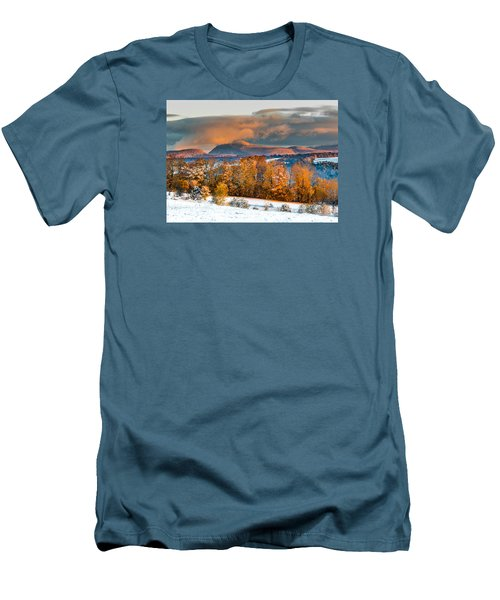Vermont Snowliage Scene Men's T-Shirt (Slim Fit) by Tim Kirchoff