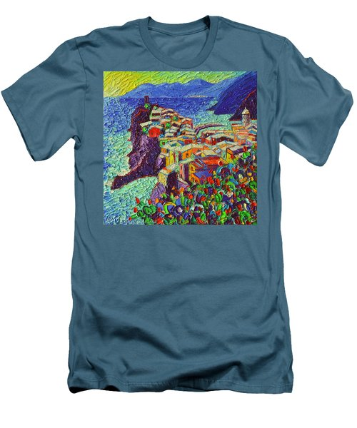 Vernazza Cinque Terre Italy 2 Modern Impressionist Palette Knife Oil Painting By Ana Maria Edulescu  Men's T-Shirt (Athletic Fit)