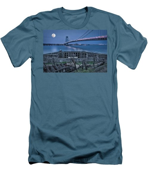 Men's T-Shirt (Slim Fit) featuring the photograph Verrazano Narrows Bridge Full Moon by Susan Candelario