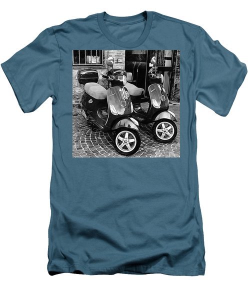 Vespa Twins Black And White Men's T-Shirt (Athletic Fit)