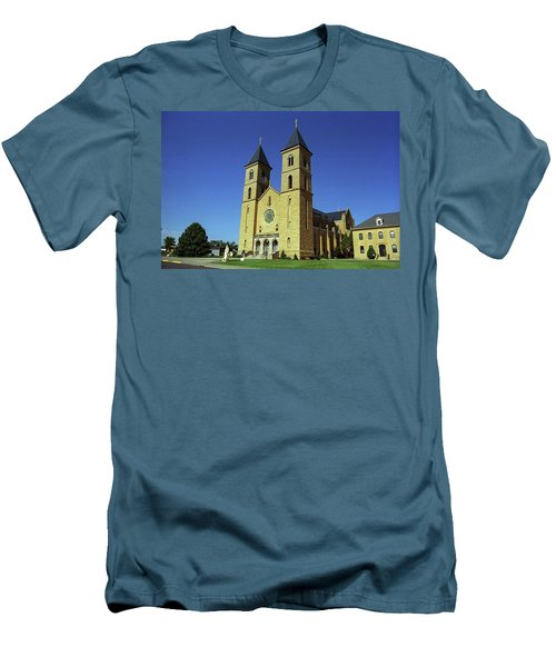Men's T-Shirt (Slim Fit) featuring the photograph Victoria, Kansas - Cathedral Of The Plains 6 by Frank Romeo
