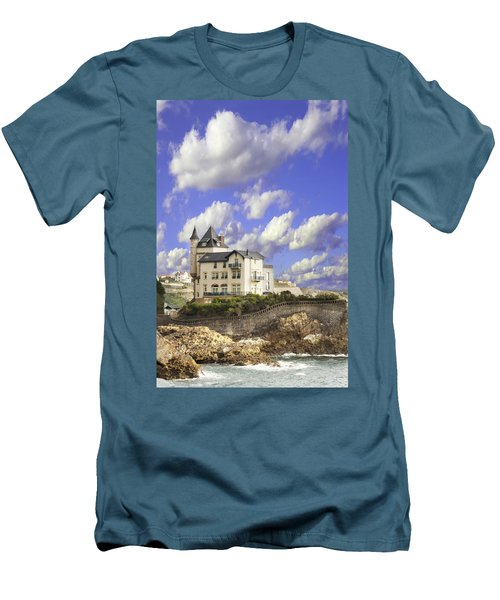 View Of The Beautiful Castle On The Bay Of Biscay Of The Atlantic Ocean Men's T-Shirt (Athletic Fit)
