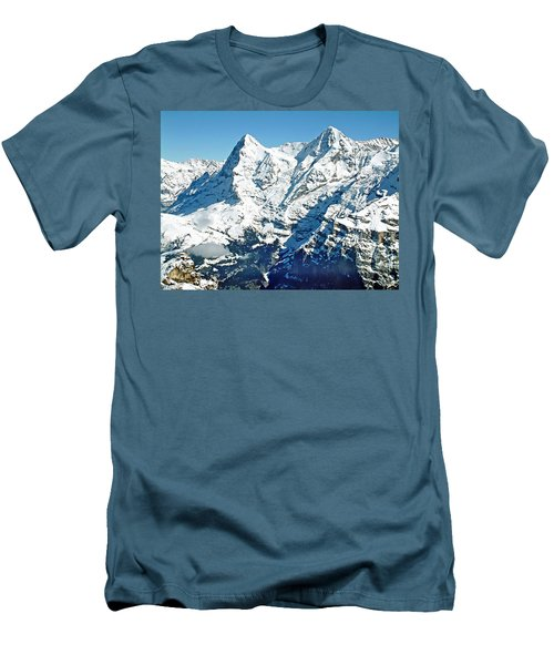 View Of The Eiger From The Piz Gloria Men's T-Shirt (Slim Fit) by Joseph Hendrix