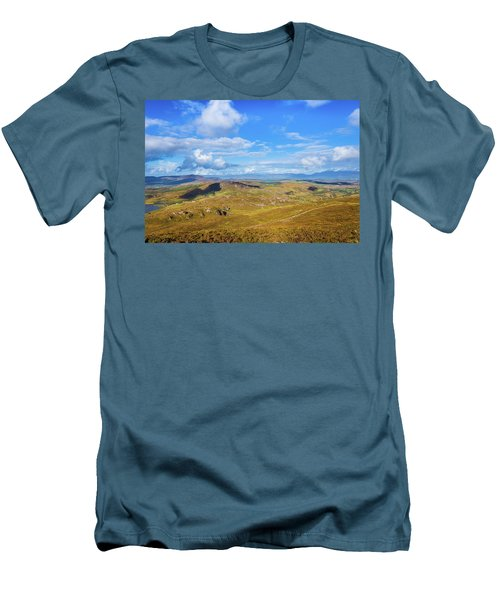Men's T-Shirt (Slim Fit) featuring the photograph View Of The Mountains And Valleys In Ballycullane In Kerry Irela by Semmick Photo