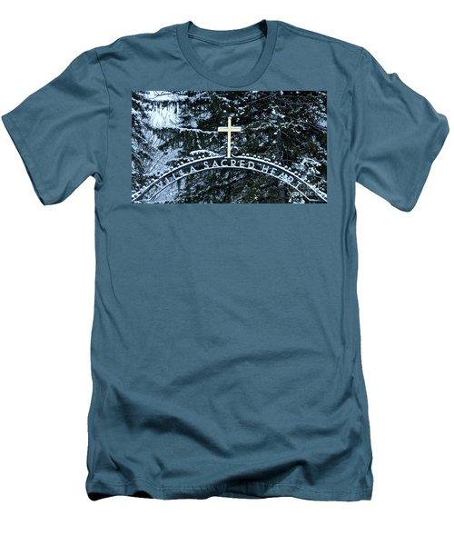 Men's T-Shirt (Slim Fit) featuring the photograph Villa Sacred Heart Winter Retreat Golden Cross by John Stephens