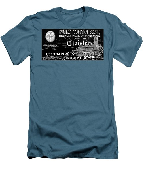 Vintage Cloisters And Fort Tryon Park Poster Men's T-Shirt (Slim Fit) by Cole Thompson