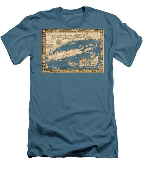 Vintage Map Of Long Island Men's T-Shirt (Slim Fit) by James Kirkikis