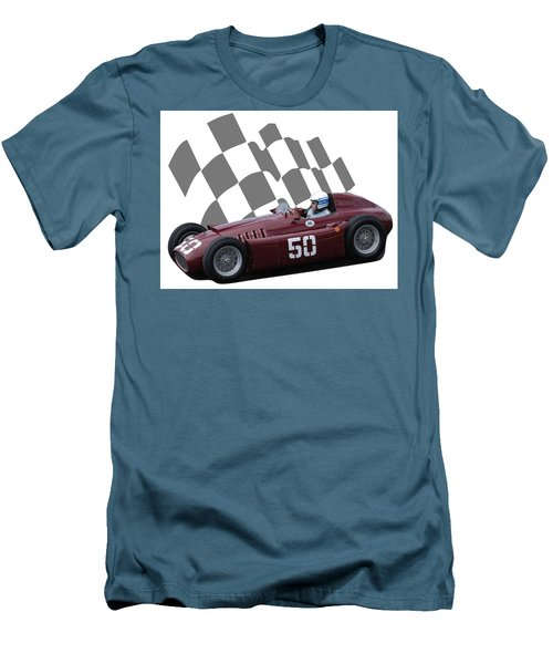 Vintage Racing Car And Flag 1 Men's T-Shirt (Athletic Fit)
