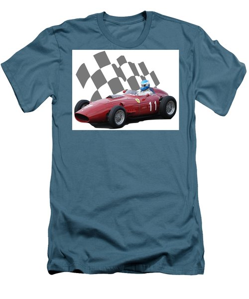 Men's T-Shirt (Slim Fit) featuring the photograph Vintage Racing Car And Flag 2 by John Colley