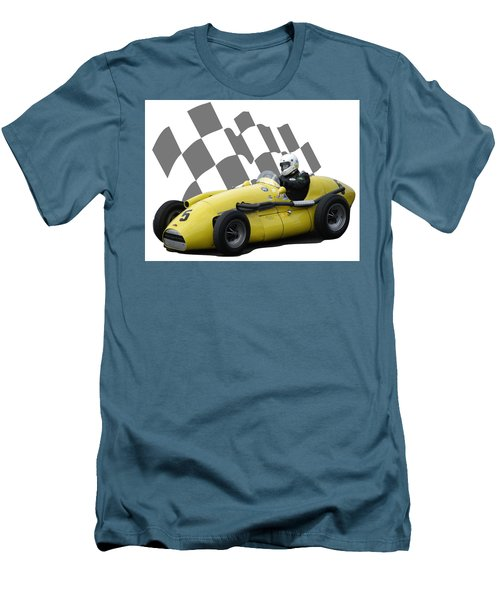 Men's T-Shirt (Slim Fit) featuring the photograph Vintage Racing Car And Flag 4 by John Colley