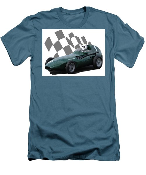Men's T-Shirt (Slim Fit) featuring the photograph Vintage Racing Car And Flag 5 by John Colley