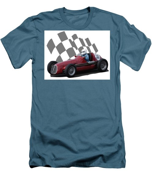 Men's T-Shirt (Slim Fit) featuring the photograph Vintage Racing Car And Flag 6 by John Colley