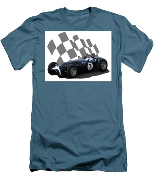 Men's T-Shirt (Slim Fit) featuring the photograph Vintage Racing Car And Flag 8 by John Colley