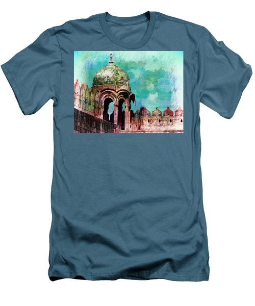 Vintage Watercolor Gazebo Ornate Palace Mehrangarh Fort India Rajasthan 2a Men's T-Shirt (Athletic Fit)