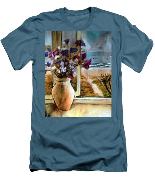 Violet Beach Flowers Men's T-Shirt (Slim Fit) by Winsome Gunning