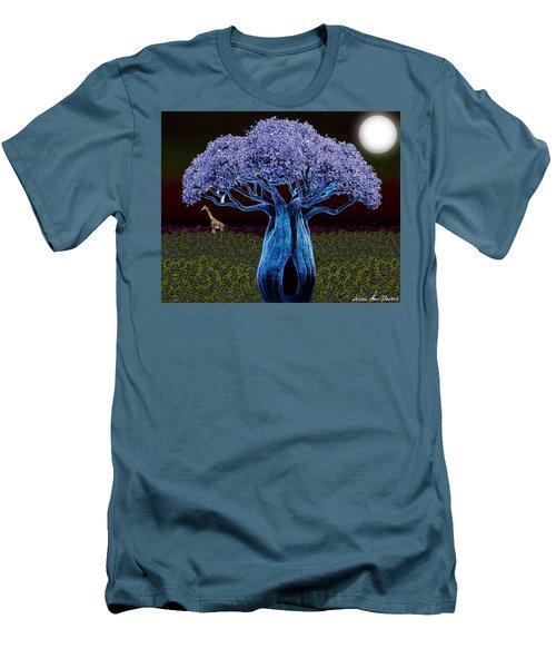 Men's T-Shirt (Slim Fit) featuring the digital art Violet Blue Baobab by Iowan Stone-Flowers