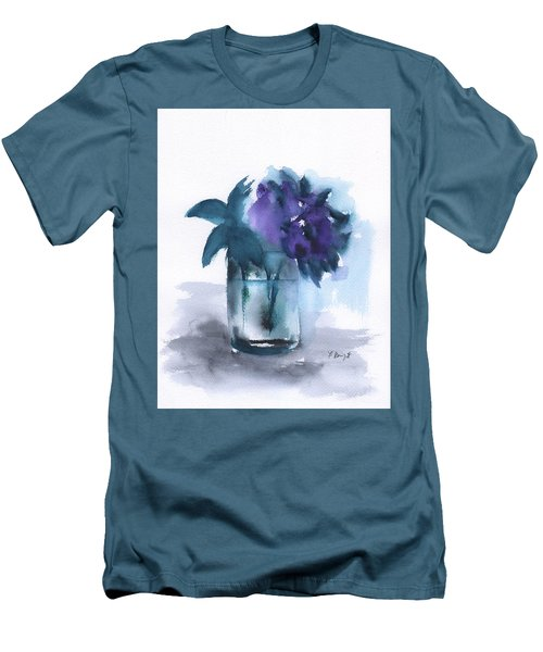 Violets In A Glass Abstract Men's T-Shirt (Slim Fit) by Frank Bright