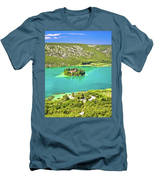Visovac Lake Island Monastery Aerial View Men's T-Shirt (Slim Fit) by Brch Photography