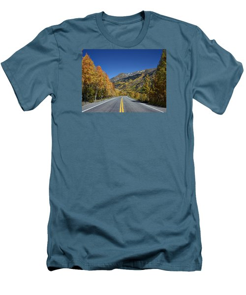 Vivid Fall Colors On The Million-dollar Highway In San Juan County In Colorado  Men's T-Shirt (Slim Fit) by Carol M Highsmith