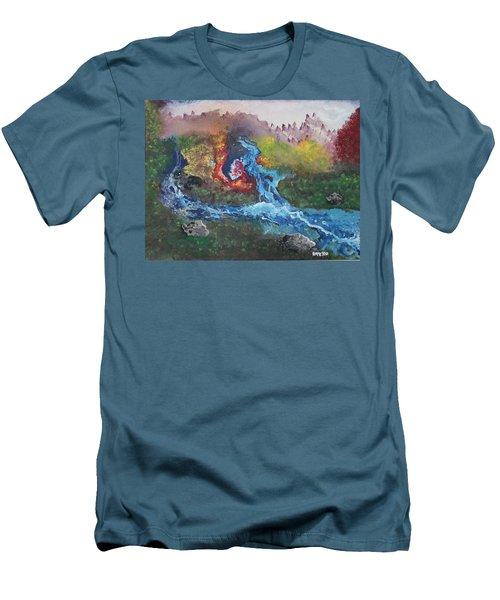 Men's T-Shirt (Slim Fit) featuring the painting Volcano Delta by Antonio Romero